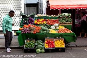 Vegetable stall camouflage body painting